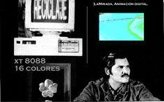 """Pedro Morales'La Mirada', 1989. Obra hecha enteramente en un PC 8088, es una de las mas tempranas piezas de arte digital documentadas en la regiόn"""""""