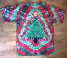 Tie Dye Christmas Tree Shirt Red Green. $22.00, via Etsy.