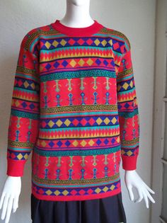 Vintage 80s GLAM GRUNGE Graphic Tribal Knit Sweater L by funquejunque, $35.00