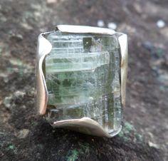 Green Kyanite Ring. Raw Green Kyanite Ring. Adjustable by Unics, $54.00