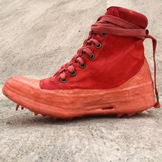 One Piece Red Kangaroo Leather Drip Sneakers By Carol Christian Poell #carolchristianpoell