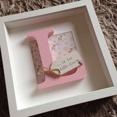 Personalized Baby Girl NurseryBedroom by ScrabulousFrames on Etsy - Baby Girl Diy Box Frame Art, Box Frames, Baby Name Letters, Cuadros Diy, Baby Frame, Baby Mobile, Baby Box, Personalized Baby Gifts, Frame Crafts