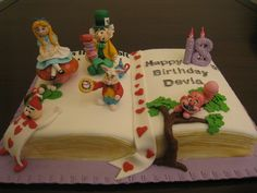 """Pop- Up """"alice In Wonderland"""" Storybook Cake Double Chocolate Cake carved into book shape, topped with fondant """"Alice in..."""