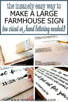 What I wish I'd known sooner about putting any text on a large wooden sign - without a Cricut or hand lettering skills. This is the easiest way to making a large farmhouse sign with free wall art printable templates. This step-by-step tutorial shows you how to make wall art with any quote, saying or Scripture verse These rustic signs look great in your living room, kitchen, bathroom, or entryway. Simply use sharpies instead of paint. Wooden Signs With Sayings, Diy Wood Signs, Rustic Signs, Wall Signs, Art Sayings, Wooden Wall Art, Diy Wall Art, Diy Wall Decor, Eat Pray Love