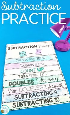 Subtraction activities and games help students learn the subtraction strategies.  Introduce the strategy with an anchor chart with your first grade or second grade students. Follow with motivating subtraction games and activities to develop each mental math strategy. #subtraction #subtractiongames #factfluency #mentalmath #firstgrade #mathgames  .