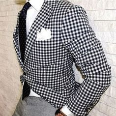 Black + White Check Blazer with Black Necktie and Grey Pants