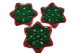 coasters in Red & Green Christmas colors by Crochet50 on Etsy, $6.99