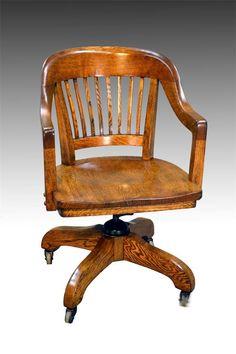 Ordinaire 16608 Oak Lawyers Banker Quarter Sawn Swivel Office Chair | EBay