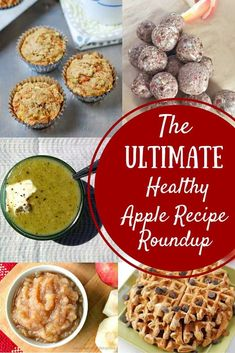 The Ultimate Healthy Apple Recipes Roundup! A great list with ways to use apples. Get to the farm and then find recipes for things like apple energy balls, apple muffins, apple blender waffles, and more! Healthy Crockpot Recipes, Healthy Breakfast Recipes, Apple Recipes, Fall Recipes, Real Food Recipes, Healthy Snacks, Healthy Eats, Apple Desserts, Fruit Recipes