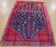 4 X 7 PERSIAN LURI TRIBAL Nomadic Hand Knotted Wool BLUE RED PURPLE  Oriental Rug #