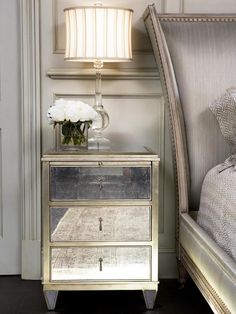 Old-world Bedrooms from Linda McDougald on HGTV like the table and headboard and colours