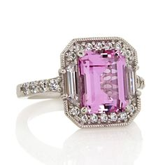 Xavier Absolute Sterling Silver Created Pink Sapphire & Pave Frame Ring Size 8 #Xavier #EngagementRing