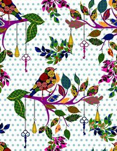 Tecido Pássaros bolinhas - Cor 02 www.elo7.com.br/modelarcasa  www.modelarcasa.com.br  www.facebook.com/modelarcasa  contato@modelarcasa.com.br