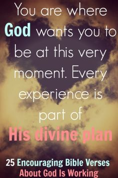 You are where God wants you to be at this very moment. Every experience is part of His divine plan. Check out 25 Encouraging Bible Verses About God Is Working