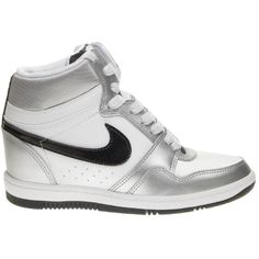 Nike Force Sky Hi Black/White ($85) ❤ liked on Polyvore featuring shoes, sneakers, nike, shoe club, women, perforated sneakers, hi top wedge sneakers, nike sneakers, black and white sneakers and wedge high tops