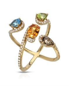 ESME Ring with 2.54ctw Precious Stones - Genuine Citrine,  Clean Diamonds, Peridot, Topazes  18K Yellow Gold.