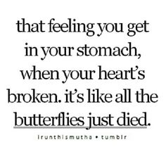 that feeling you get in your stomache, when your heart's broken. it's like all the butterflies just died. ...