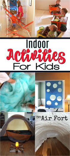 These great Indoor Activities for kids will keep your keep busy and active on cold winter days or summer rainy days at home! Perfect when you are stuck inside and great for toddlers, pre-schoolers, school-aged kids and even tweens will have a blast! Rainy Day Activities For Kids, Activities For Adults, Indoor Activities For Kids, Home Activities, Toddler Activities, Indoor Games, Activity Days, Crafts For Rainy Days, Outdoor Activities