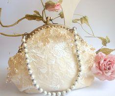 Bridal  Pearls Clutch,Vintage Ivory Bag,Bridesmaids Clutch,Bridal Bag,Lace Bag,Vintage Wedding lace Bag. $59.00, via Etsy.