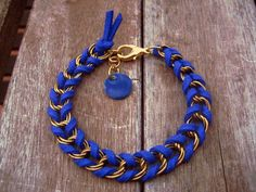 Items similar to Golden chain & electric blue suede bracelet on Etsy