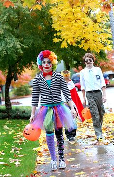 Clowns are fun costumes because you can raid your closet and put together the wackiest stuff you can find.