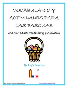 ($2.75) includes Easter vocabulary and expressions, a crossword and word scramble with answer keys, an instruction sheet for making virtual Spanish Easter greeting cards, a blank Easter bingo card, an Easter word cloud activity, an Easter acrostic poem template, and ten Easter writing/speaking prompts.