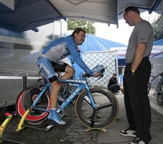 "The truly amazing ""Eki"" Ekimov, warming up for a TT at the Tour"