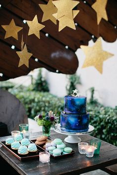 starry night peter pan baby shower dessert table via sweet tooth