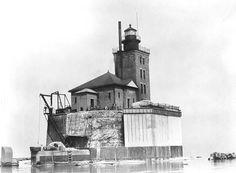 Port Austin Reef Lighthouse in Lake Huron near Port Austin, Michigan