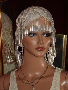Antique style Beaded Peals Flapper Hat Cloche 1920s Theme off White Fully Beaded Lace