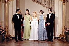 Prince Charles, Princess Anne, Tricia Nixon, along with Julie and David Eisenhower at the White House during a state dinner in 1970