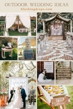 outdoor-wedding-ideas Outdoor weddings are totally in trend right now, so if you're planning one then you're on the right track! When it comes to an outdoor wedding, there is so much you can do décor wise. It's like a blank canvas and you can do whatever your heart pleases. The reason why outdoor weddings are so popular these days is because they allow the couple to customize everything, have a theme for the wedding and put a personal touch on every part of the décor. Small Wedding Decor, Backyard Wedding Decorations, Rustic Wedding Signs, Indoor Wedding, Home Wedding, Wedding Ideas, Outdoor Weddings, Intimate Weddings, Wedding Ceremony Backdrop