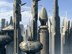 Image from http://img3.wikia.nocookie.net/__cb20080218042228/starwars/images/7/77/Coruscant_view_EII_2.jpg.