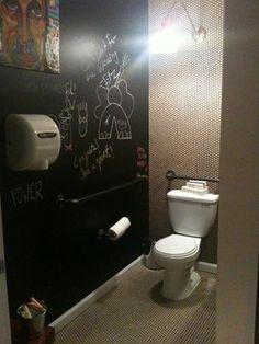Chalkboard bathroom wall
