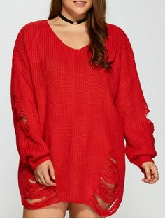 GET $50 NOW | Join RoseGal: Get YOUR $50 NOW!http://www.rosegal.com/plus-size-sweaters-cardigans/distressed-plus-size-sweater-872444.html?seid=8081343rg872444