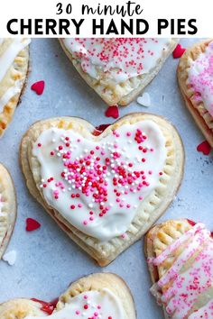 These adorable Cherry Hand Pies are heart shaped and make the easiest dessert for Valentine's Day or any special occasion! #valentinesday #pie #cherrypie #handpies #cherryhandpies #dessert #delicious Tart Recipes, Best Dessert Recipes, Sweets Recipes, Easy Desserts, Delicious Recipes, Baking Recipes, Valentine Recipes, Valentines Day Food, Funny Valentine