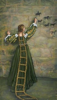 Rapunzel& Tower, acrylic by Laura Ramie. I love this because it depicts Rapunzel as an active agent and artist, not just as someone waiting around for the witch/prince all day. Illustrator, Art Disney, Photo D Art, Fairytale Art, Children's Book Illustration, Food Illustrations, Surreal Art, Nursery Rhymes, Fantasy Art