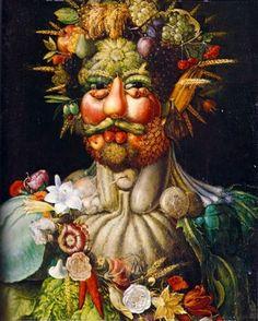 Giuseppe Arcimboldo: Giuseppe Arcimboldo (Italian, ca. Vertumnus (Portrait of Rudolf II), Oil on panel. x cm x 22 in. Giuseppe Arcimboldo, Google Art Project, Italian Painters, Italian Artist, Blog Art, Renaissance Artists, Italian Renaissance, Renaissance Food, Photo Images