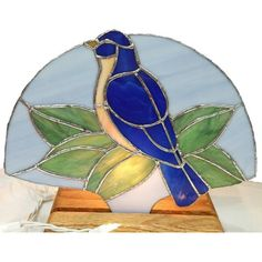 Stained Glass Blue Bird Standing Night Light Fan