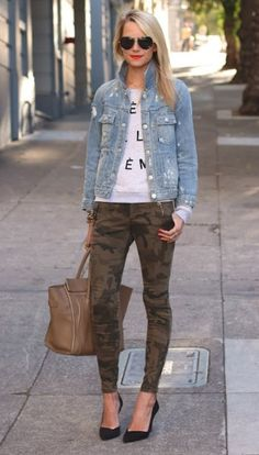 Camo skinnies and chambray top.