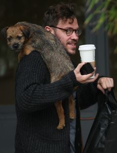Celebrities Parading Dogs: Will Young with a dog at the ITV studios.