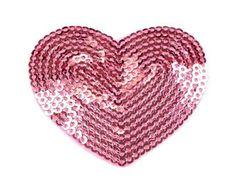 Cuore di ferro 5 cm rosa paillettes applicate