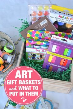 DIY Art Gift Baskets and The Best Art Supplies to Put in Them. Awesome gift idea for kids who have everything.