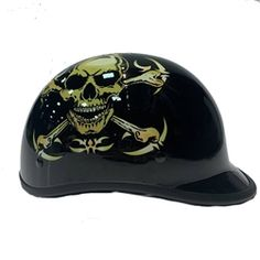 Dot Approved Motorcycle Helmets, Leather Motorcycle Helmet, Cool Motorcycle Helmets, Cool Motorcycles, Novelty Helmets, Half Helmets, Open Face Helmets, Skull Cap Helmet