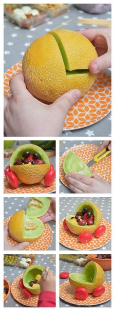Fun food ideas A few years ago I went to a fantastic baby shower and saw a great idea where a baby carriage was made from a Water Melon. Post on How to carve out and make a Melon carving.