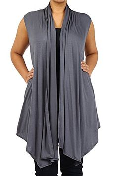Plus Size Vest Women Open Front Cardigan New Wrap Sleeveless 1X 2X ...
