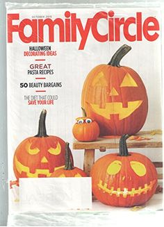 Family Circle Magazine October 2015  Halloween Decorating Ideas. Great Pasta Recipes. 50 Beauty Bargains. The Diet That Could Save Your Life. Fall Halloween Holiday Crafts, Pumpkin Carving & Decor