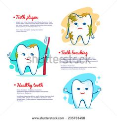 Teeth brushing concept. Vector illustration, isolated.