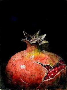 Pomegranate Art, Watercolor Fruit, Still Life Fruit, Fruit Painting, Painting Still Life, Fruit Art, Beautiful Drawings, Still Life Photography, Botanical Art