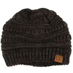 63721d61125 Unisex 2 Tone Warm Chunky Thick Stretch Knit Slouch Beanie Skull Ski Hat  Black  fashion